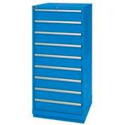 "Lista® 9 Drawer Standard Width Cabinet 59-1/2""H - Bright Blue, Master Keyed"