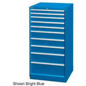 "Lista 28-1/4""W Cabinet, 10 Drawer, 161 Compart - Bright Blue, Keyed Alike"