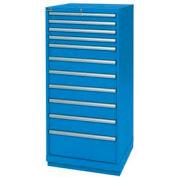 Lista® 11 Drawer Standard Width Cabinet - Bright Blue, Master Keyed