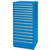 Lista® 15 Drawer Standard Width Cabinet - Bright Blue, Keyed Alike