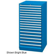 "Lista 28-1/4""W Cabinet, 16 Drawer, 296 Compart - Bright Blue, Keyed Alike"