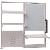 Nexus Accessory Kit - 3 Shelves, Markerboard, Louvered Panel, Power Strip - Gray