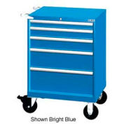 "Lista 28-1/4""W Mobile Cabinet, 5 Drawers, 44 Compart - Bright Blue, Keyed Alike"