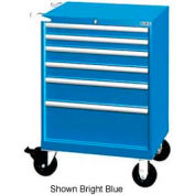"Lista 28-1/4""W Mobile Cabinet, 6 Drawers, 58 Compart - Bright Blue, Keyed Alike"