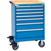 "Lista® 7 Drawer 24""W Shallow Depth Mobile Cabinet w/Butcher Block Top-Bright Blue, Keyed Alike"