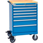 """Lista® 7 Drawer 24""""W Shallow Depth Mobile Cabinet w/Butcher Block Top-Blue, Individual Lock"""
