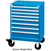"Lista 28-1/4""W Mobile Cabinet, 8 Drawers, 90 Compart - Bright Blue, Keyed Alike"