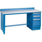 Technical Workbench w/Tech Leg, 3 Drawer Cabinet, Plastic Laminate Top - Blue