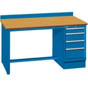 60x30x35.25 Cabinet & Leg workbench w/4 drawers, back stop/butcher block top