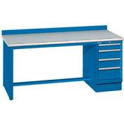 72x30x35.25 Cabinet & Leg workbench w/4 drawers, back stop/plastic laminate top