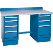 Technical Workbench w/3 and 4 Drawer Cabinets, Plastic Laminate Top - Blue
