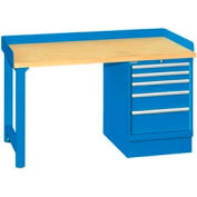 60x30x35.25 Cabinet & Leg workstation w, 5 drawers, back & end stops, butcher block top