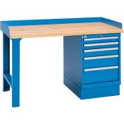 Industrial Workbench w/Leg, 5 Drawer Cabinet, Butcher Block Top - Blue