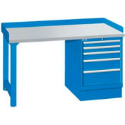 60x30x35.25 Cabinet & Leg workstation w, 5 drawers, back & end stops, plastic laminate top