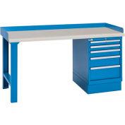 Industrial Workbench w/Leg, 5 Drawer Cabinet, Plastic Laminate Top - Blue