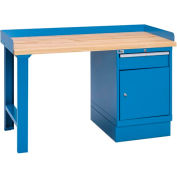 Industrial Workbench w/Leg, 1 Drawer Cabinet w/Shelf, Butcher Block Top - Blue
