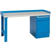 Industrial Workbench w/Leg, Drawer Cabinet w/Shelf, Plastic Laminate Top - Blue