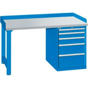 60x30x35.25 Cabinet & Leg workstation w/5 drawers, back & end stops/plastic laminate top
