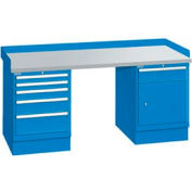 72x30x35.25 (2) Cabinet workstation w/6 drawers, back & end stops/plastic laminate top
