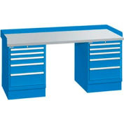 72x30x35.25 (2) Cabinet workstation w/10 drawers, back & end stops/plastic laminate top