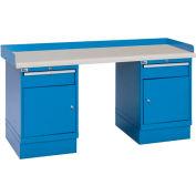 Industrial Workbench w/1 Drawer w/Shelf Cabinets, Plastic Laminate Top - Blue
