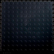 "Lock-Tile® PVC Floor Tiles, LK001, 19.5x19.5"", Coin, Black"