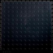 """Lock-Tile® PVC Floor Tiles, LK001, 19.5x19.5"""", Coin, Black"""