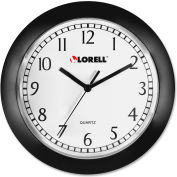 "Lorell® 9"" Round Quartz Wall Clock, Plastic Case, Black"