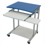 Mobile Computer Desk With Pullout Keyboard - Blue