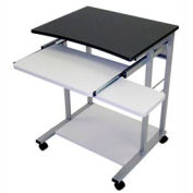 Mobile Computer Desk With Pullout Keyboard - Charcoal