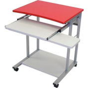 Mobile Computer Desk With Pullout Keyboard - Red