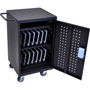 Luxor iPad™ and Tablet Charging Cart with RFID locking system for 30 Devices, Black