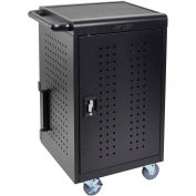 Luxor Mobile Tablet/Chromebook Charging Cart with Key Lock For 30 Devices, Black
