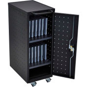 "Luxor Laptop/Chromebook Compact Charging Cart For 12 Devices, 14""W x 24-3/4""D x 39-5/8""H, Black"