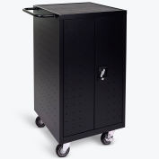 """Luxor Laptop/Chromebook Computer Charging Cart For 18 Devices, 25""""W x 21-1/4""""D x 39-3/4""""H, Black"""