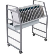 "Luxor Tablet/Chromebook Open Charging Cart for 16 Devices, 27""W x 14-3/4""D x 30""H, Gray/White"