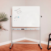 Rolling Magnetic Dry Erase Whiteboard - Double Sided Reversible - 48 x 36