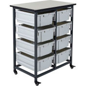 """Luxor Mobile Bin Cart with Eight 6""""H Totes MBS-DR-8L - Gray/Black, 19-3/4""""L x 30-1/2""""W x 37-1/4""""H"""