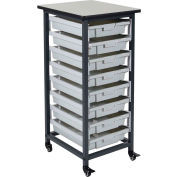 """Luxor Mobile Bin Cart with Eight 3""""H Totes MBS-SR-8S - Gray/Black, 19-1/2""""L x 17""""W x 37-1/4""""H"""