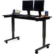 "Luxor Electric Adjustable Height Standing Desk 59""L x 29""W x 29 to 45""H Black Frame/Black Oak Top"