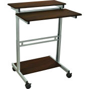 "Luxor Mobile Stand Up Computer Desk , 31""W x 29""D, Walnut"