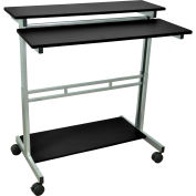 "Luxor Mobile Stand Up Computer Desk , 39""W x 29""D, Black"