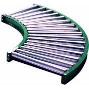 "Ashland 90° Curve Roller Conveyor, 10"" BF, 1.9"" Roller Dia., 3"" Axle Centers, 30"" Inside Radius"