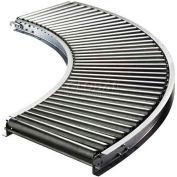 "Ashland 90° Curve Roller Conveyor - 16"" BF - 1-3/8"" Roller Dia. - 1-1/2"" Axles - 36"" Radius"