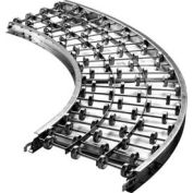 "Ashland 90 Degree Curve Galvanized Steel Skatewheel Conveyor, 18"" OAW, 16 WPF, 36"" Inside Radius"