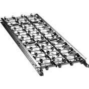 "Ashland 10' Straight Galvanized Steel Skatewheel Conveyor 34032 - 24"" OAW - 20 WPF"
