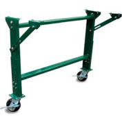 "Castered H-Stand for Ashland 24"" OAW Skatewheel & 22"" BF Roller Conveyor - 23-5/8"" to 32-1/4""H"