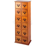 Library Style CD File Drawer Cabinet Oak, 144 CDs