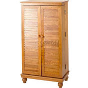 Louvered Door Multimedia Storage Cabinets Oak