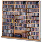 Open Wall Multimedia Storage Rack Oak, 1500 CDs/612 DVDs